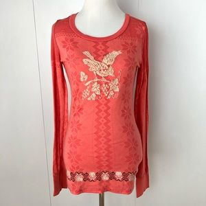 FREE PEOPLE Long sleeve coral bird tee medium